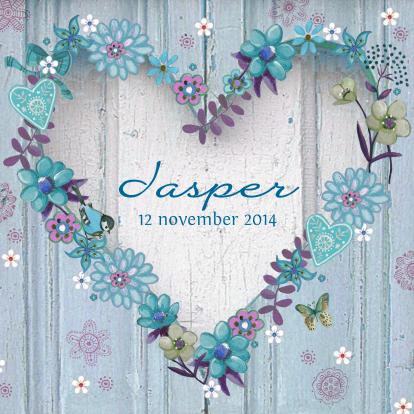 geboorte-hart-hout-blauw-bloemen