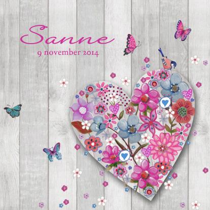 geboorte-meisje-hart-bloemen-hout